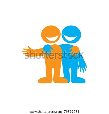 Symbol of friendship. Icon Happy friends. Vector sign. - stock vector