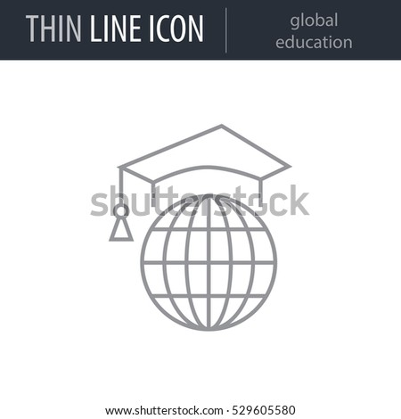 Symbol Global Education Thin Line Icon Stock Vector 529605580