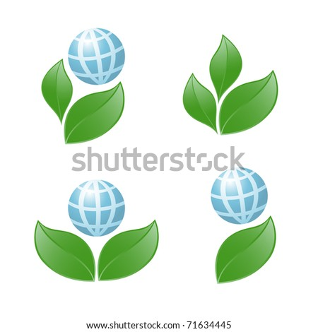 Symbol of globe with the plant. Vector-Illustration - stock vector