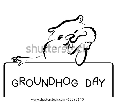 Symbol of Groundhog day with text. Vector black graphic - stock vector