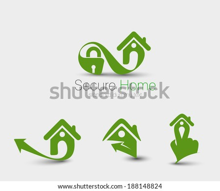 Symbol of Home Security Set, isolated vector design - stock vector