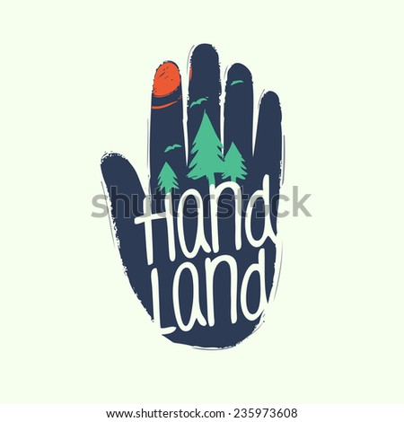 Symbol of human and nature union. Human's hand and green forest - stock vector
