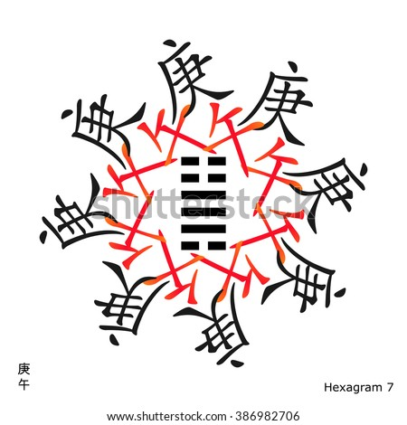 Symbol Ching Hexagram Chinese Hieroglyphs Translation Stock Vector