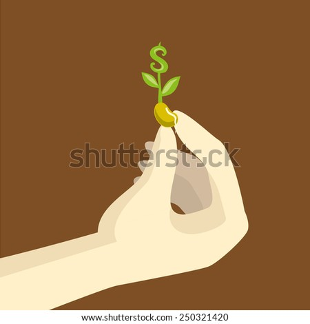 symbol of money seed in hand illustration, vector - stock vector