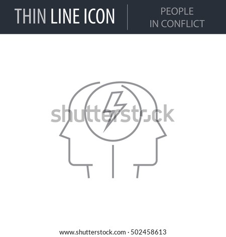 Symbol People Conflict Thin Line Icon Stock Vector 2018 502458613