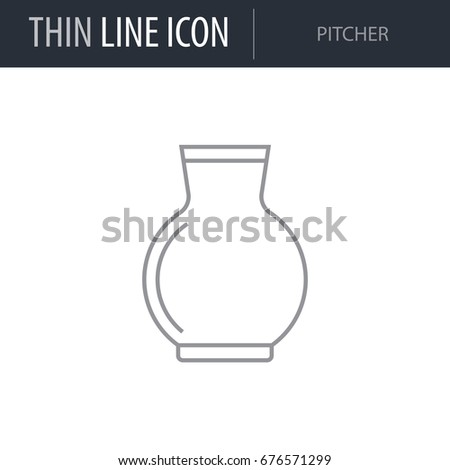 Symbol Pitcher Thin Line Icon Milk Stock Vector Hd Royalty Free