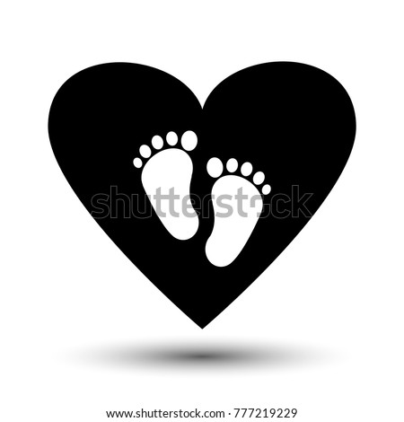 Symbol Pregnancy Childbirth White Baby Footprints Stockvector