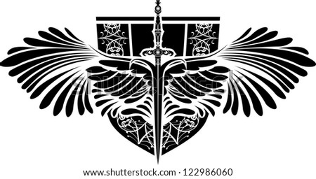 Symbol of protection, sword  with wings and shield - stock vector