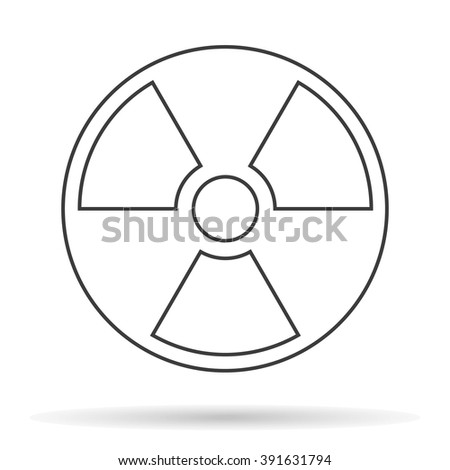 symbol of radioactive contamination with highlights on a black background, danger - stock vector