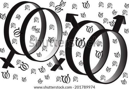 Symbol of same-sex relationships and free love - stock vector