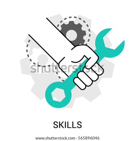 Symbol Skills Ability Hand Wrench Mechanical Stock Vector 2018