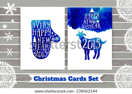 Symbol of the 2015 year, greeting card with goat. Greeting card 2015. Happy New Year 2015. Vector watercolor mitten silhouette, Happy New Year lettering, typography composition. Wood texture. - stock vector