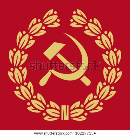 symbol of USSR - hammer, sickle and laurel wreath (ussr sign, soviet symbol, symbol of communism) - stock vector