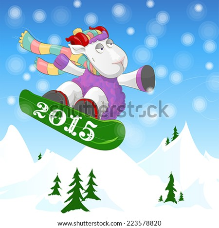 Symbol of year 2015. Cheerful ram in colourful scarf riding a snowboard on winter mountain landscape. Illustration, vector - stock vector