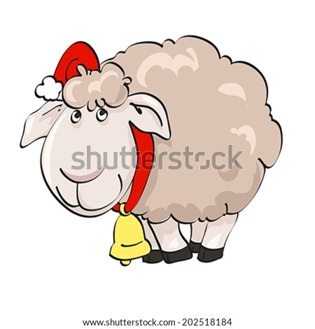 Symbol of year 2015. Lovely lamb in Santa's cap with bell on the isolated white background. Illustration, vector - stock vector