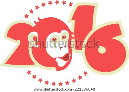 symbol of year on Chinese calendar monkey in red on figures of the year - stock vector