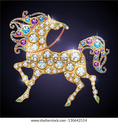 Symbol of Year 2013 shiny jewelry horse - stock vector