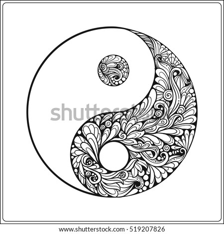 Symbol Yin Yang Gold On Black Stock Vector 519207826 ...