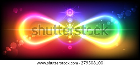 Symbol or sign of infinity with the image of the chakras on the beautiful, colorful background - stock vector