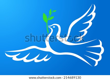 Symbol peace of  white dove with a palm branch in blue sky