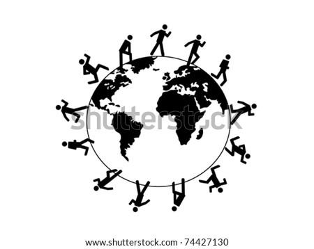 symbol people running around the world - stock vector