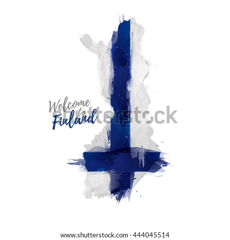 Symbol, poster, banner Finland. Map of Finland with the decoration of the national flag. The Finnish national flag in watercolor  style drawing.  Vector. - stock vector