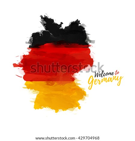 Symbol, poster, banner Germany. Map of Germany with the decoration of the national flag. Style watercolor drawing. Germany map with national flag. Vector. - stock vector