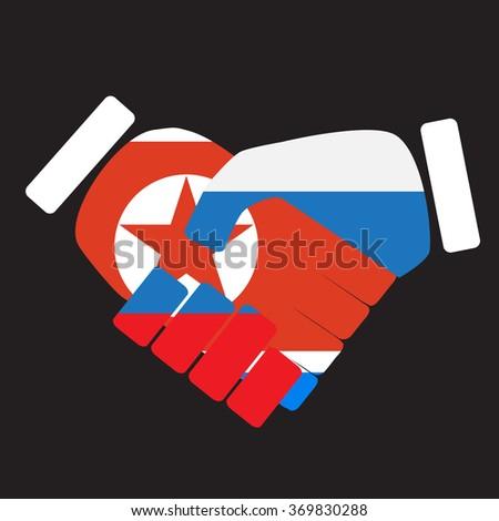 Symbol sign handshake North Korea and Russia. Union cooperation, friendship russia and north korea, korean nation, handshake international. Vector art abstract unusual fashion illustration - stock vector