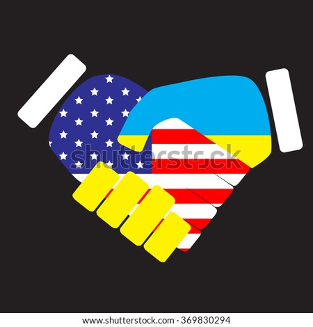 Symbol sign handshake USA and Ukraine. Flag ukraine cooperation friendship, nation handshake with usa, agreement with states america, american country. Vector art abstract unusual fashion illustration - stock vector