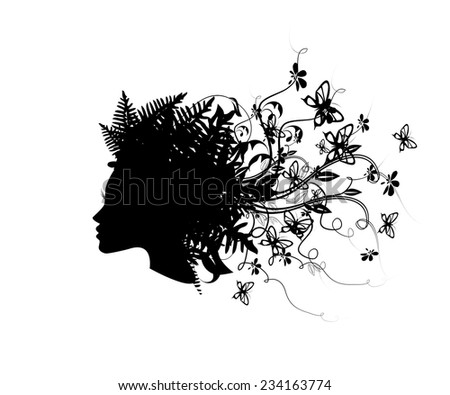 Symbol silhouette head girl with butterflies. Vector  - stock vector
