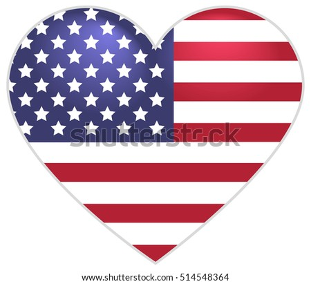 Symbol US flag heart shape. Isolated on white vector icon illustration