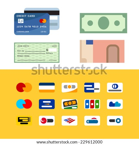 Symbolic geometric stylization of payment methods, credit card, dollar and euro banknotes - stock vector