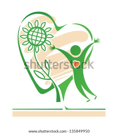 Symbolic green illustration. People and nature. - stock vector