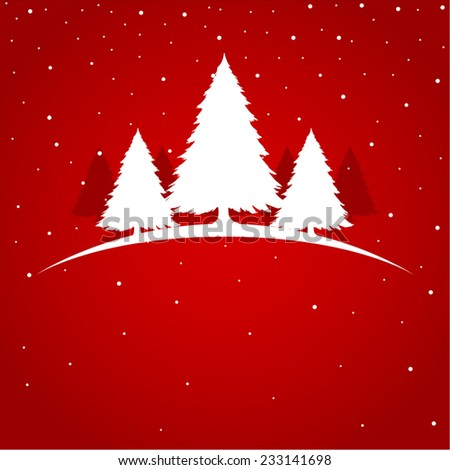 Symbolic illustration of Christmas tree on red background - stock vector