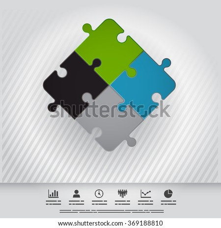 Symbolic illustration of connection through four puzzle pieces - stock vector