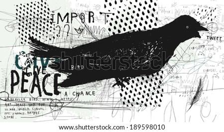 Symbolic image of a bird in the style of graffiti  - stock vector