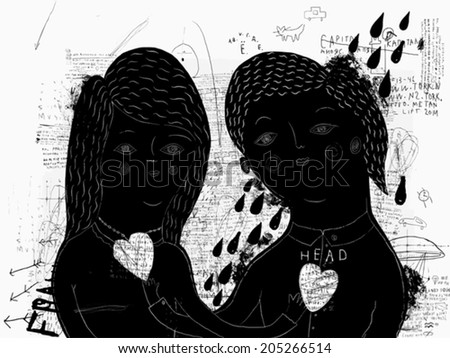 Symbolic image of a man and woman who love each other  - stock vector