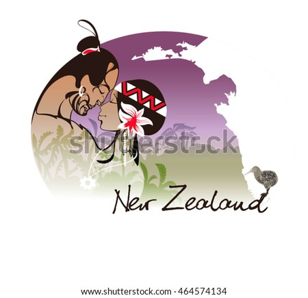symbolic image of a pair  young men from the Maori. New Zealand