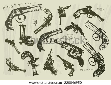 Symbolic image of pistols  - stock vector