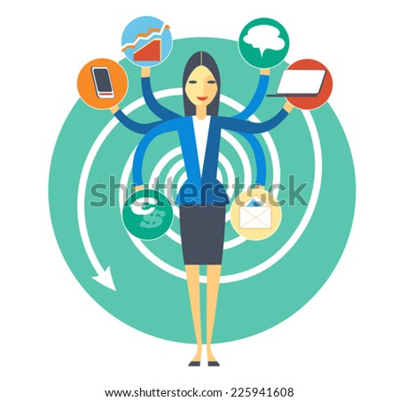 Symbolic image of plenty duties office secretary - stock vector