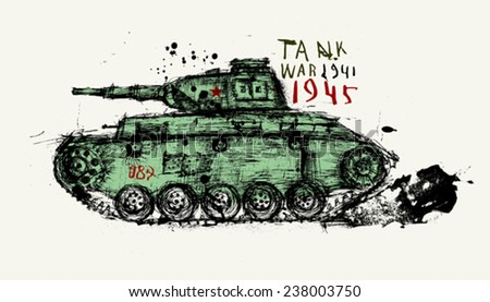 Symbolic image of the tank of the Second World War  - stock vector