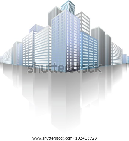 symbolic modern cityscape with skyscrapers