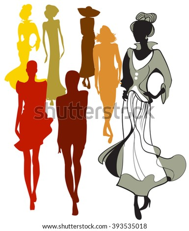Symbolic picture showing a collection of  summer clothing patterns - stock vector