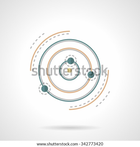 Symbolic planet with satellites and orbits. Astronomy science, space research. Education and science signs. Flat color style vector icon. Single web design element for mobile app or website. - stock vector