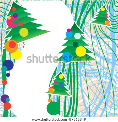 symbolic representation of decorated Christmas trees on the background of interwoven  lines