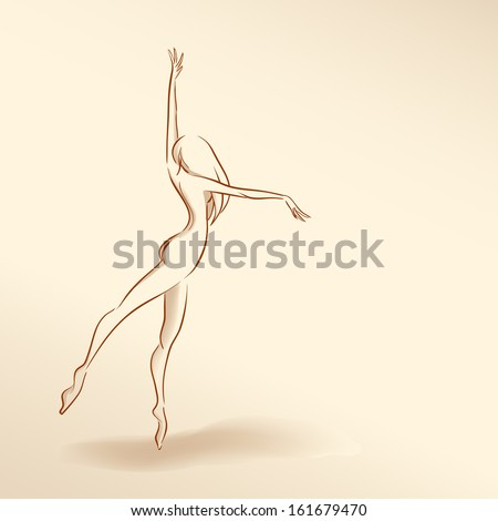 Symbolic silhouette of elegant slender girl dancing. Pale nude color, vector image/ Series silhouettes of women. Soft nude pastel colors. Dancing woman  - stock vector