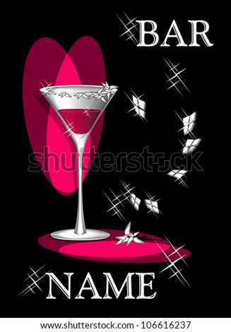 Symbolical composition Cocktail of love for advertising of bar