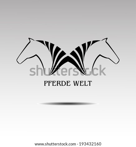 Symbolics with the image horses, vector - stock vector