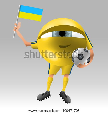 Symbolistic eyeball fan in ukraine soccer uniform ready with flag and ball
