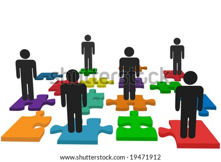 Symbolize human resources issues and other people issues and solutions with symbol people on jigsaw pieces, which actually form a puzzle. - stock vector
